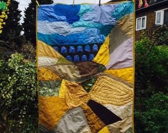 Unique handcrafted cotbed/ crib landscape quilt