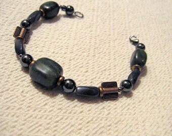 Copper Square Camouflage Bracelet Green Jasper Hematite