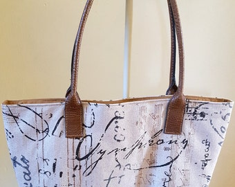 Script Fabric Handbag Purse Shoulder Bag