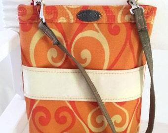 Small orange crossover // zip top // long strap // orange yellow swirls