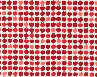 Apples in red from the London Calling lawn 6 collection by Robert Kaufman