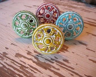 2 Distressed Metal Knobs Pictured in White and Green Yellow Red Aqua Blue You Choose Colors Rustic Cottage Style Silver Bases B-17