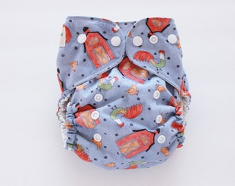 Barn Yard friends, one size PUL cloth diaper cover, OS, farm, rooster, chicken ready to ship