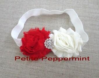Red and White Shabby Flower Baby Headband,Newborn Headband,Toddler Headband,Girl Headband,Christmas Head Band,Baby Hair Bow,Girl Hair Bow