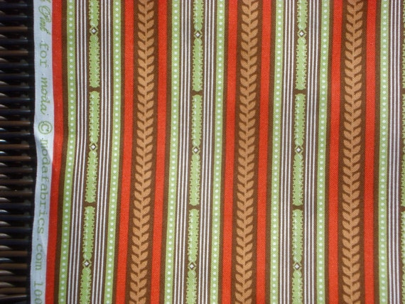 Flutterby Stripe olive red Tula Pink moda fabrics FQ or more