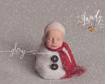 Newborn photo prop, snuggle sack, baby bonnet, Christmas photo prop, winter photo prop, snowman photo prop, newborn snowman, infant prop,