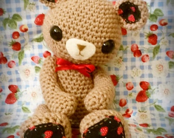 Teddy with heart amigurumi PDF crochet pattern
