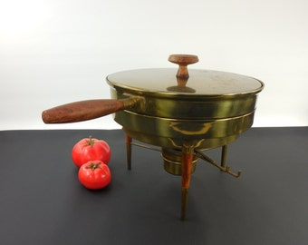 Brass Rosewood Chafing Dish Server Warmer - Italy - Mid Century Modern