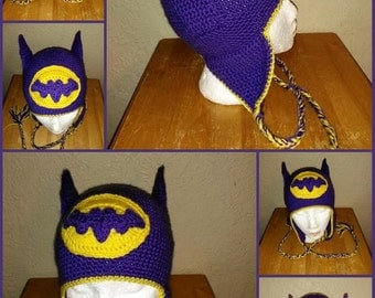 Batgirl Hat w/Ears-Purple And Yellow-All Sizes-Made To Order
