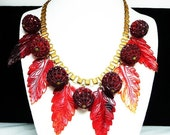 Celluloid Leaves & Berries Necklace - Goldtone Book Chain - Early 1900's Vintage Jewelry - Maroon Burgandy Wine Red