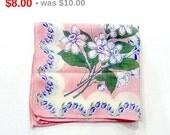 Vintage Pink & Blue Handkerchief - Violets Flowers Hankie - Novelty Spring Hanky