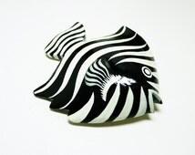 Wood Zebra Fish Brooch - Vintage Black and White Tropical Stipes