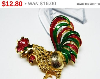 Red & Green Rooster Brooch Signed Gerrys - Goldtone with Enamel Comb and Tail Feathers - Figural Vintage Chicken Jewelry