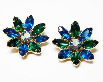 Blue & Green Daisy Earrings - Clip on Flower Earrings - Prong Set Marquis Rhinestones - Vintage 1960's - 1970's Jewelry