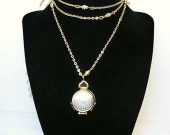 "Four Picture Hinged Locket Pendant on Goldtone Rope Length Chain - 20"" with Rhinestone Beads - Gold and Silver Tone Pendant"