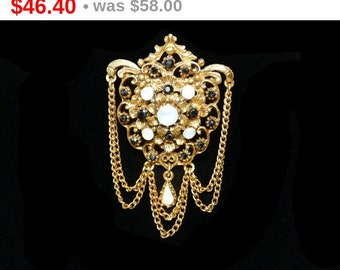 Florenza Victorian Revival Brooch - Drippy Chains with Glass Opalescent Cabs - Vintage 1960's Jewelry