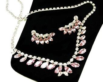 Vintage B David Rhinestone Set - Necklace & Earrings Demi Paurure  - Pastel Pink Rhinestones - Brides Wedding or Teen Prom Jewelry