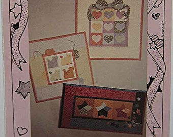Vintage 90s Favorites No Sew Small Wall Quilts Pattern by Little Brown House Patterns, Hearts, Stars, Cats, Patchwork Applique Fusible UNCUT
