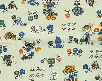 """Adorable Vintage 60's or 70's Print Fabric, ABC, Dog, Flowers, Little Girls, Pig, Apple, 44"""" x 1 1/2 Yds"""