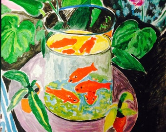 The Goldfish after Matisse in watercolor