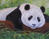 RESERVED FOR SALLY _-----Whimsical Panda Painting Asian Animal