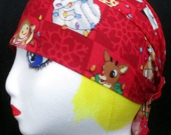 Red Skull Cap or Chemo Cap w Rudolph and Friends, Hats, Head Wrap, Hair Loss, Bald, Helmet Liner, Do Rag, Surgical Cap, Handmade, Motorcycle