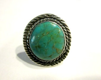 Vintage Green Turquoise Ring Size 8 Large Sterling Hand Made Ring Vintage Men's Ring Woman's Ring Gift for Her for Him Southwestern Jewlery