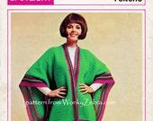 Vintage Crochet Mexicana Poncho Pattern PDF 809 from WonkyZebra