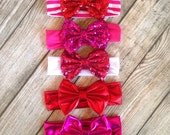 On Sale Sequin Bow Headband Baby Toddler Kids Bow Hair Bow Headband Sequin Bow Valentines Day Sequin Hairbow Headband Sequin Red Pink Bow