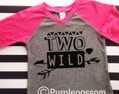 2nd Birthday Shirt Hipster Style unisex birthday Raglan two wild Shirt Boy or Girl  Birthday Shirt second birthday hipster shirt