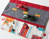 Car Caddy Roll Up w/ Road Play Mat - To the Rescue - (Holds 5 Toy Cars) - Made to Order (Car Wallet/Holder/Travel Matchbox Car Carrier)