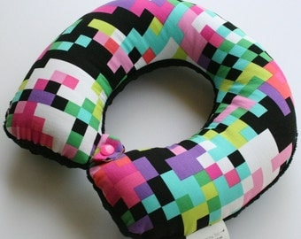Child Travel Neck Pillow - Pixelated w/ Black Minky
