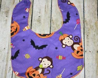 Baby Bib, Halloween Baby Bib- Baby Boy bib or Baby Girl Bib, Halloween Baby bib, Minky Baby Bib,Monkey Baby Bib