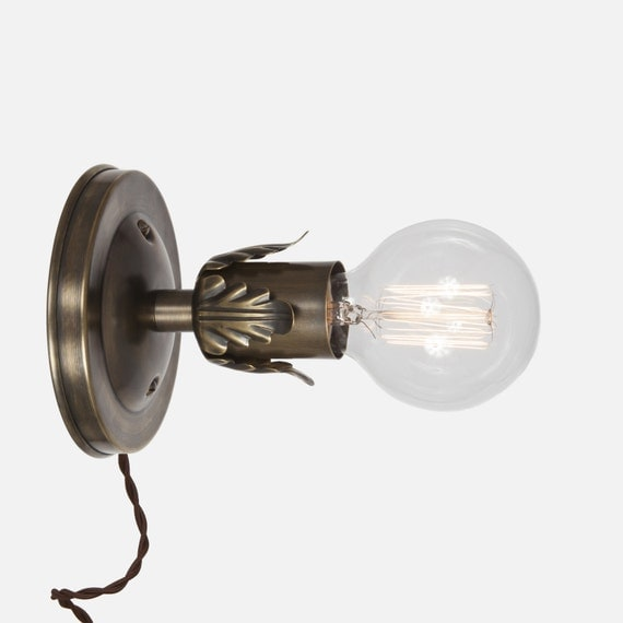 Vintage Brass Sconce Plug In Wall Sconce Light Wall Sconce