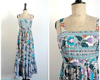 Vintage 60s/70s CREATIONS PARIS Maxi Summer Dress Cotton Printed / French Vintage Dress/ Small