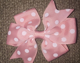 2 inch piggy tail hair bows light pink (set of 2)