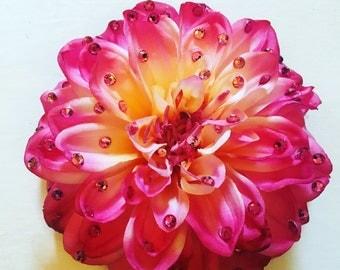 Large Rhinestone Wedding Pink Dahlia Hair Flower