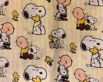 A Wonderful Peanuts Snoopy, Charlie Brown, And Woodstock Stripe Tossed Cotton Fabric BTY Free US Shipping