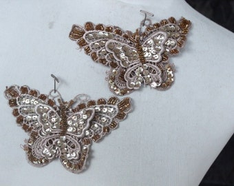 Cute beaded  butterfly applique  2 piece listing
