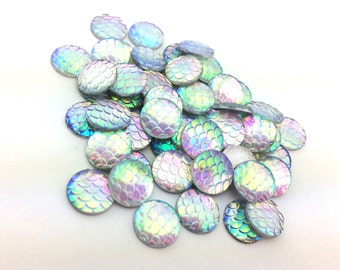 100pcs Rainbow Mermaid Supplies - DIY Mermaid Costume - Scale Cabochons - 12mm Wholesale Cabochons - Flat Back Glue On Round F57