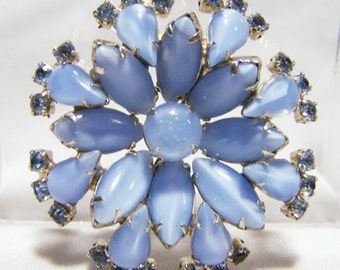 Blue Rhinestone Pin Opaque and Transparent Glass Stones Brooch Mid Century Vintage Jewelry 416DG