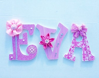 EVA name quick ship, Shades of pink EVA name, EVA, nursery letters