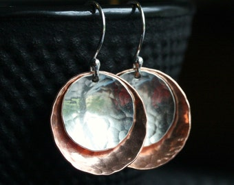 Handmade silver and copper dangle earrings, hammered disk earrings, mixed metal, sterling silver, disc, Mimi Michele Jewelry