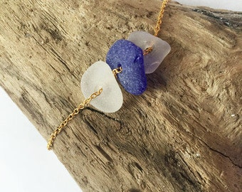 White and Blue Sea Glass Necklace, Seaglass Necklace, Genuine Sea Glass, Spring Trends, Summer Jewelry, Beach Wedding, Bridesmaid Jewlery