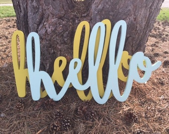 Hello Word Wood Cut Wall Art Sign Decor
