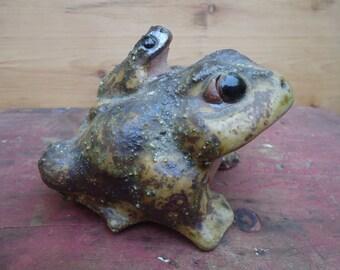 Vintage Pottery Frog/Garden Statue/Frog Sculpture
