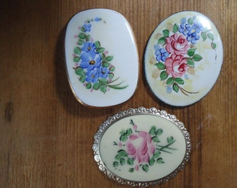 3 Antique Guilloche Enamel Embellishments