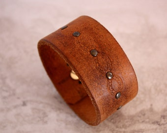 Women's Brown Leather Cuff Bracelet Stamped Design with Rivets (Size 7.5 inches)