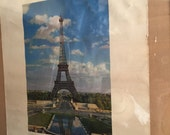 "PARIS FRANCE vintage 1950 TWA Airlines, Transworld Airlines Eiffel Tower, Paris Travel Poster,  17"" x 22"" original vintage travel poster"