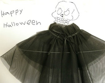 Witchy woman Black bolero, tulle Halloween costume cape, fairy queen style, satin ribbon, Halloween party, soft and cute.